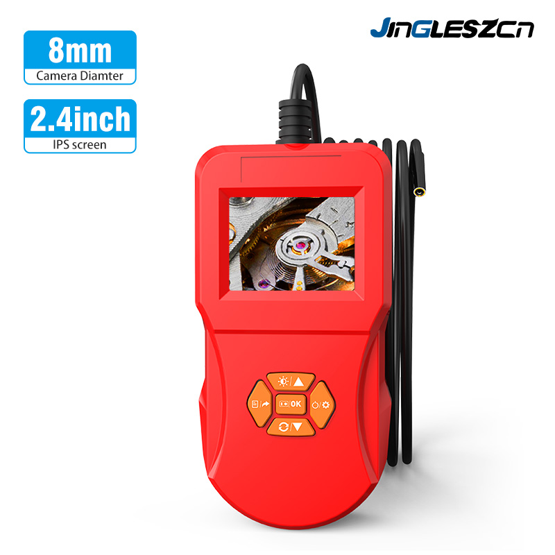 8mm Industrial Inspection Camera 2.4 Inch LCD Screen Borescope Camera IP67 Waterproof Endoscope Camera With 6 LED Snake Camera