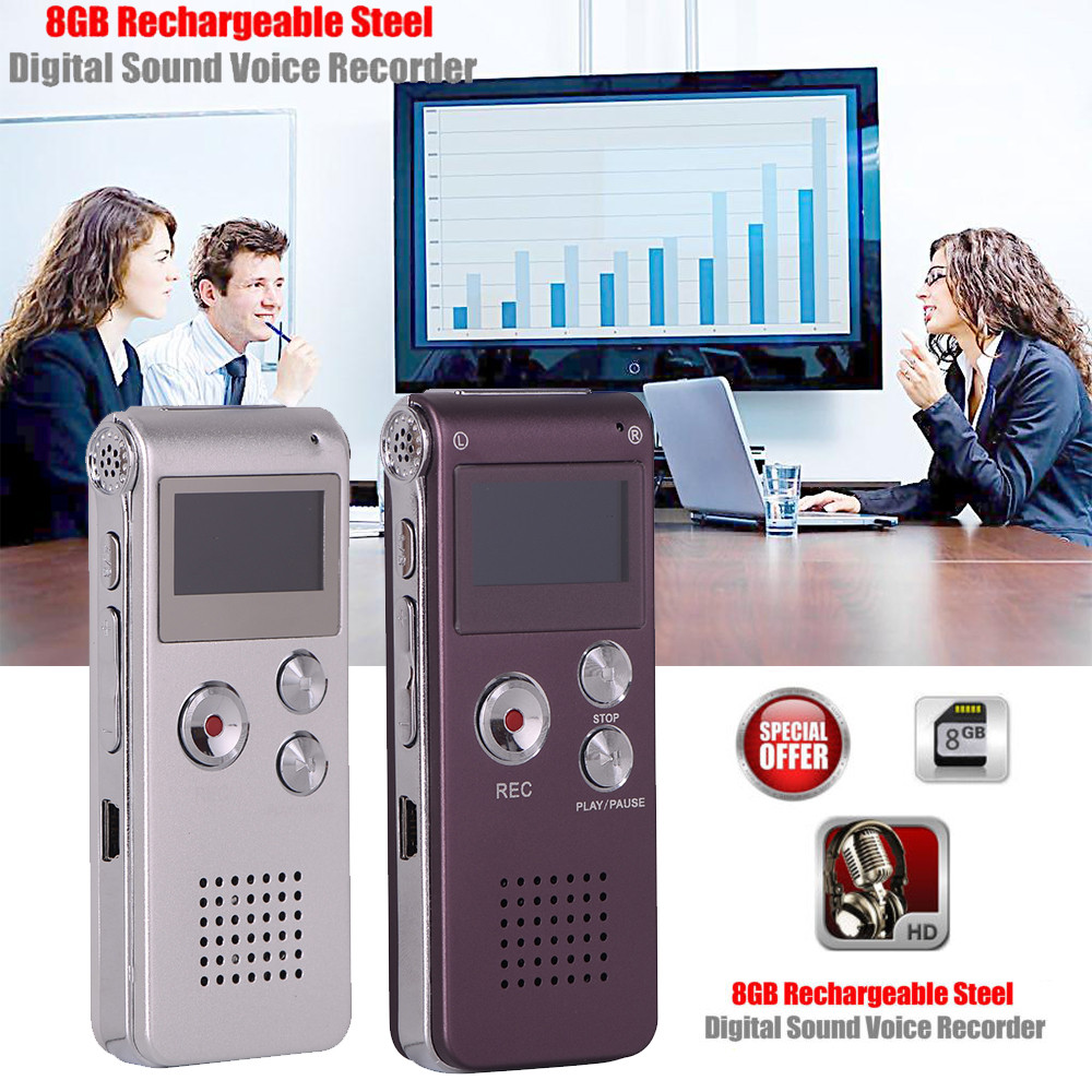 top selling product in 2020 8GB Rechargeable Steel DIGITAL Sound Voice Recorder Dictaphone MP3 Player Record accept dropshipping