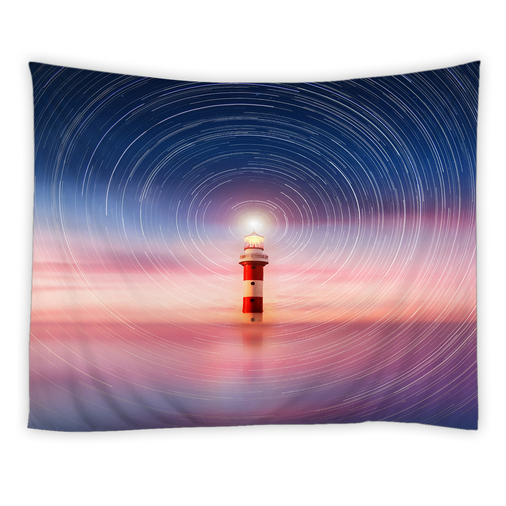 Lighthouse Decor Tapestry Long Woodwalk Towards the Seaside Night Lighthouse At Sunset Time Wall Art Hanging Dorm Wall Blankets|Decorative Tapestries| |  - title=