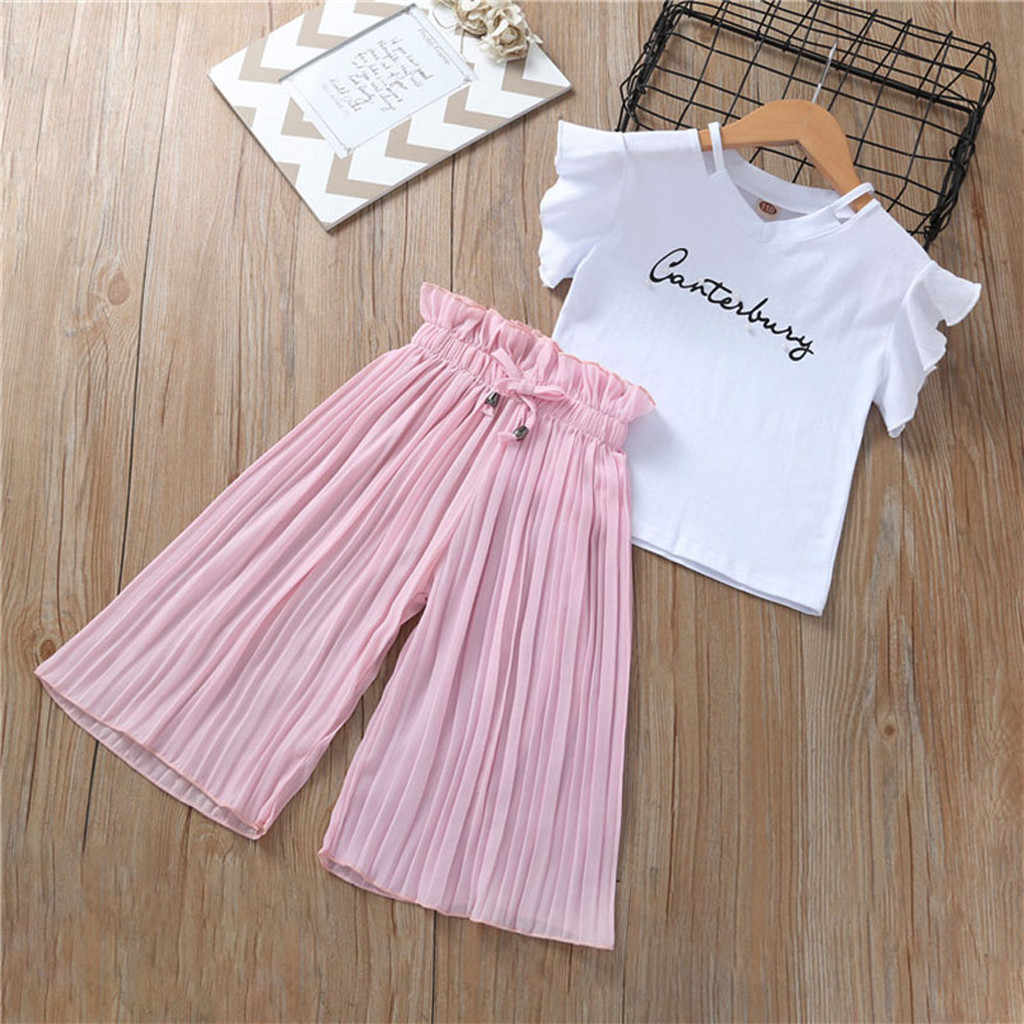 2pcs Girls Outfits Clothes Chiffon T-shirt Tops+Wide Leg Pants Baby Kid Set 3-7T