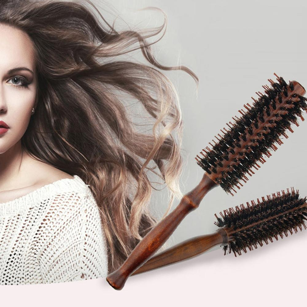 2pcs Hair Comb Wooden Handle Natural Bristles Round Roller Comb Curling Combs Hair Brush For Hair Styling Drying Curling