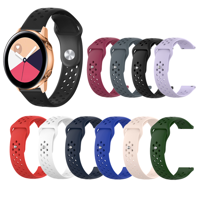 20mm Silicone Band for Samsung Galaxy Watch Active 42mm Gear S2 Sport Replacement Bracelet Women Men WatchBand Strap Accessories
