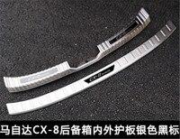 Alta qualidade de aço inoxidável choques traseiro protetor sill trunk placa do passo guarda traseira para mazda cx-8 cx 8 cx8 2019 estilo do carro