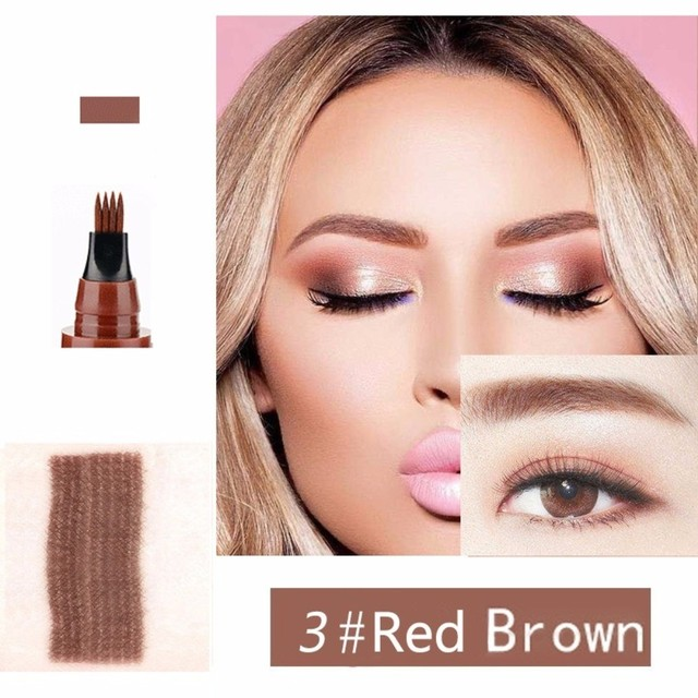 Makeup Microblading Four Fork Tip Eyebrow Pencil Waterproof Eye Brow Tattoo Pen  Fine Sketch Enhancer Makeup Cosmetic TSLM2 4