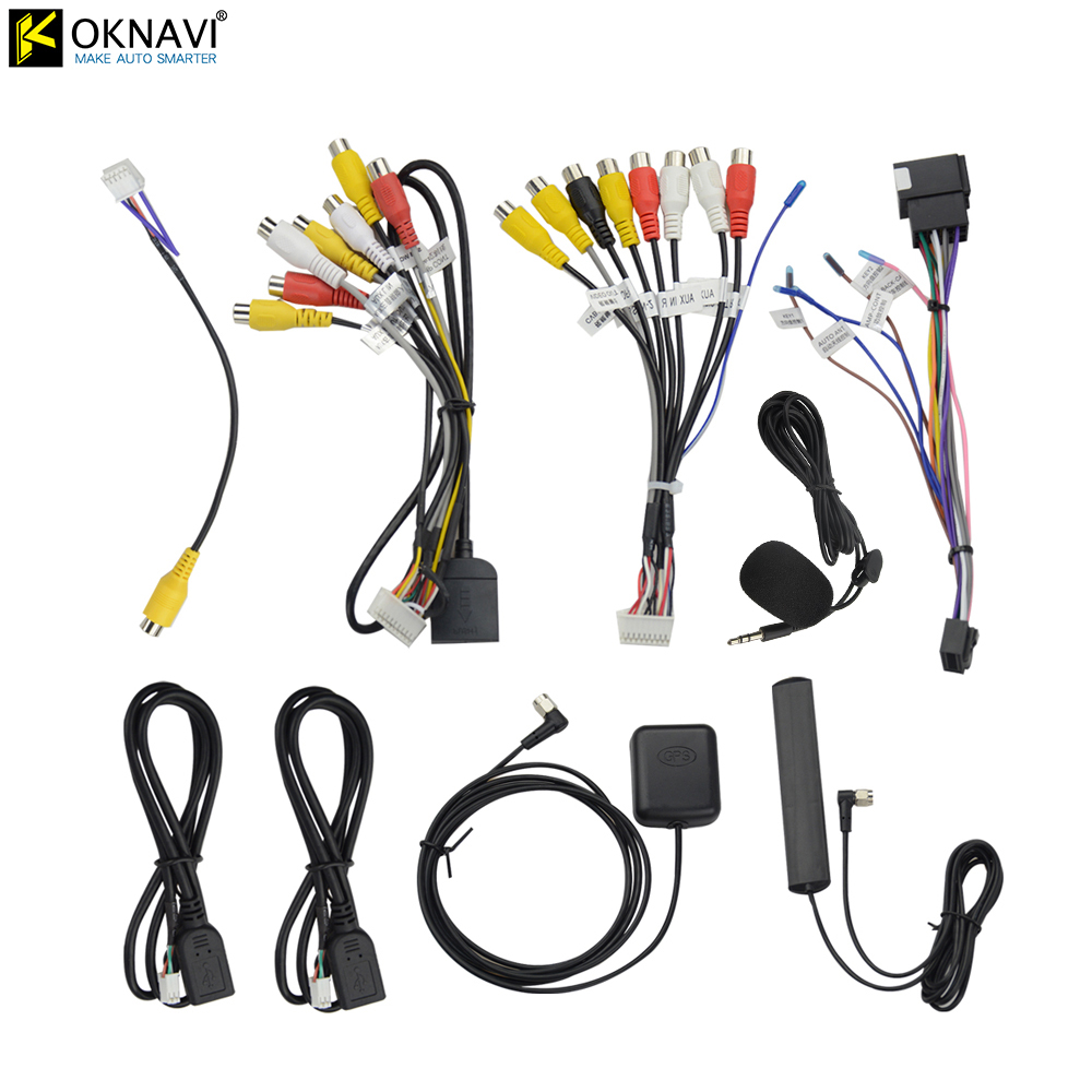 OKNAVI Microphone USB GPS Rear View Camera RCA Output AUX SIM Card Slot Radio Converter 16PIN 4G Power Cable For Car Navigation