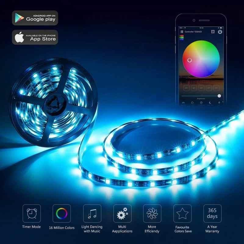 El mando a distancia LED WiFi funciona con Alexa/Google Home Control de voz para el cambio de tira de luces LED RGB 5050/3528/regulador/temporizador/Sou