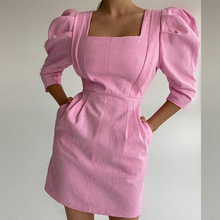 Women Short Puff Sleeve Mini Dress Summer 2021 Pink Square Collar A-Line Casual Office Lady Party Female Dresses Clothes New