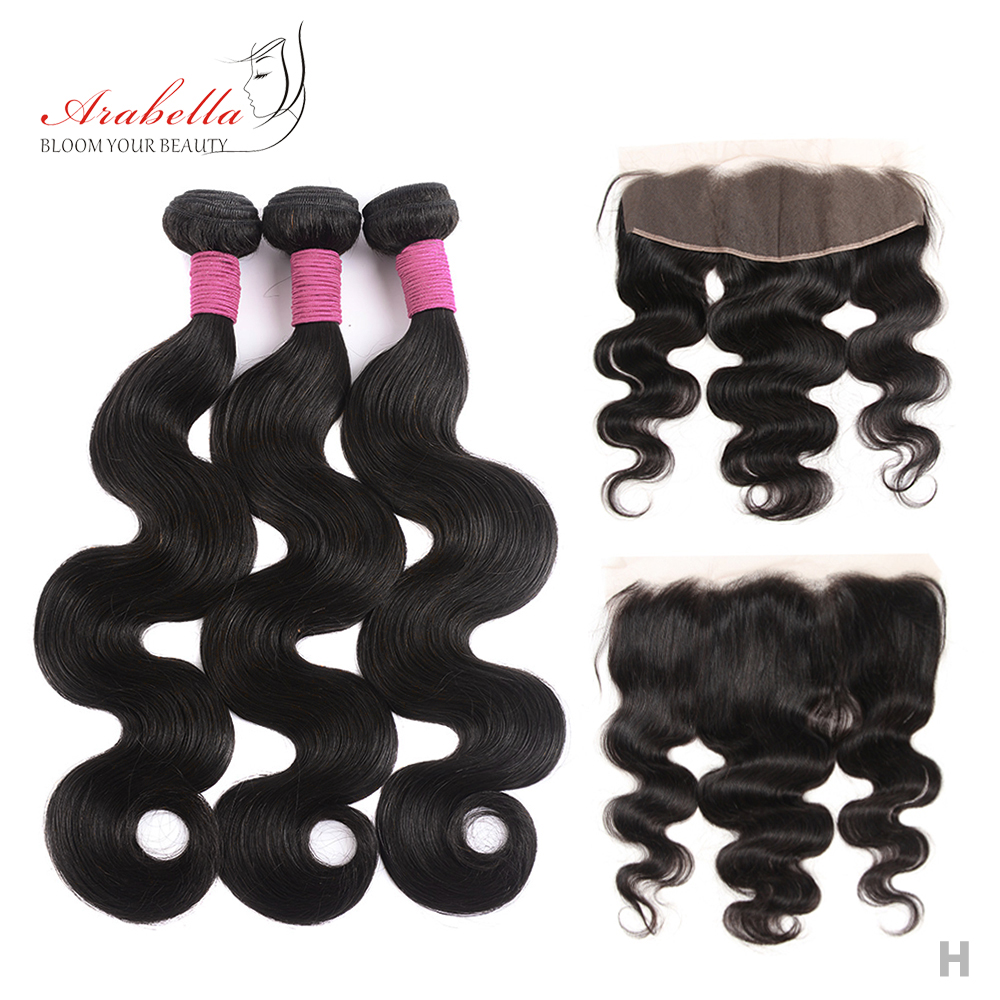 Brazilian Body Wave Hair Bundles With 13X4 Lace Frontal Arabella Pre Plucked 100% Remy Human Hair Lace Frontal With Bundles