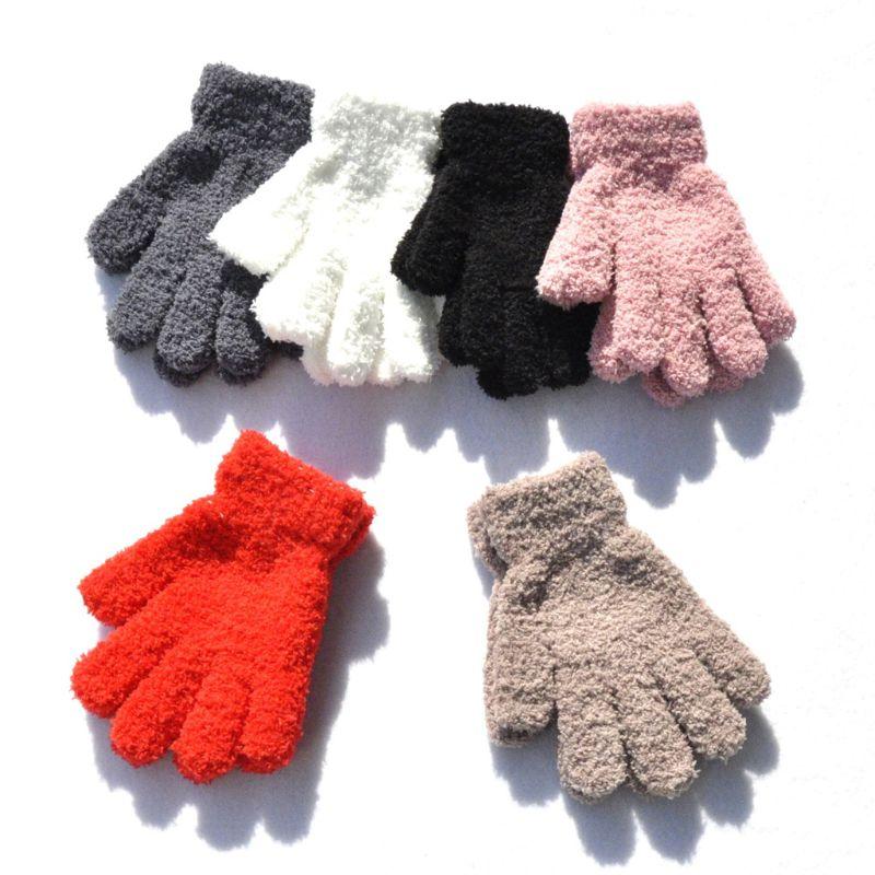 Hiver chaud enfants gants enfants Stretch mitaines garçons filles complet doigt gants