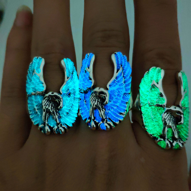 Luminous Head Portrait Adjustable Ring Retro Popular Glow In The Dark Alloy Ring for Men Punk Jewelry Gifts Wholesale 2019