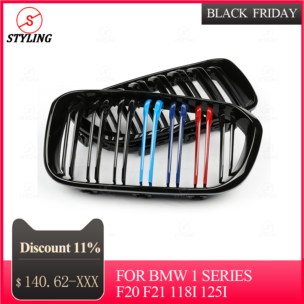 M135i front grill For BMW 1 Series F20 F21 118i 125i Carbon Fiber Front Bumper Grille Gloss Black 3 color 2012 2017 2018 2019|Bumpers| |  - title=