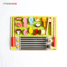 Mookids Girl gifts Wooden Kitchen Toys Set Barbecue Shop food for Kids child barbecue  Baby Early Education Food