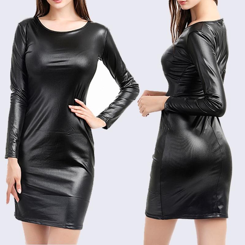 Ladies Sexy Nightclub Dress Faux Leather Long Sleeve O-Neck Knee Bag Hip Tight Pencil Dresses Feminino Vestido