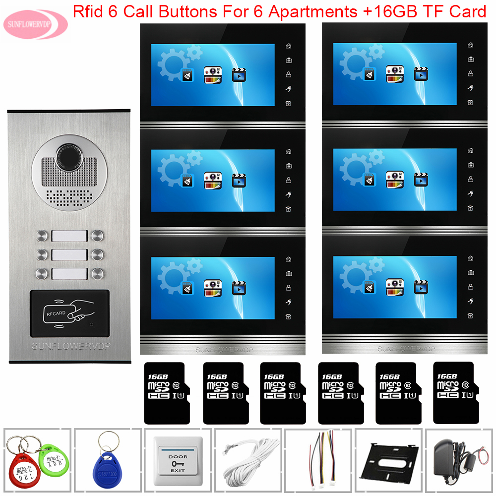 Door Station For Video Intercom 7'' Color Video Intercom With Recording+16 GB TF Card Video Doorbell With Monitors Home Intercom