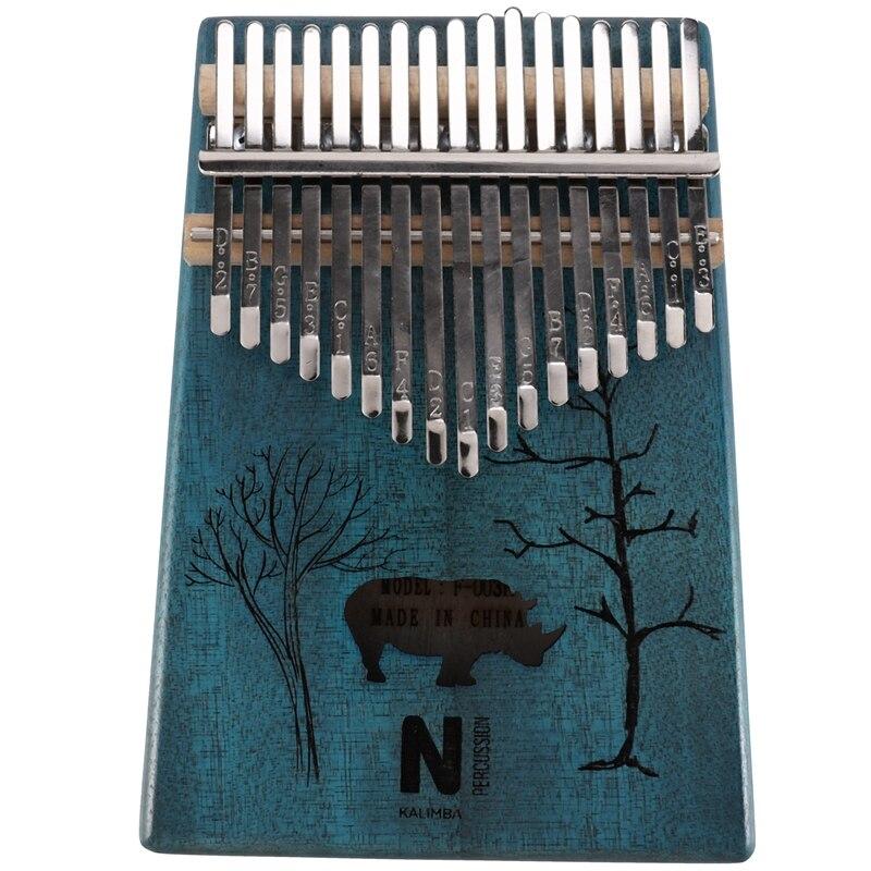 17 Keys Kalimba Rhinoceros Thumb Piano Mahogany Wood Finger Piano Musical Instrument With Tuner Hammer Storage Box