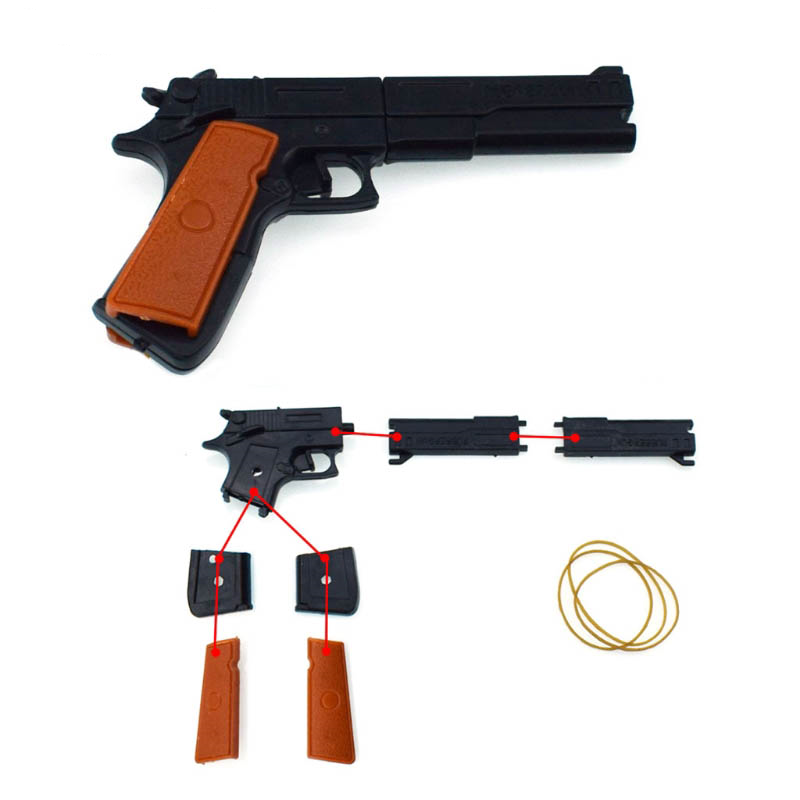 Fashion Safety Portable Simulation Toy Assembly Rubber Band Gun Toy Children Funny Outdoors Game Shooters Manual Pistol Toys
