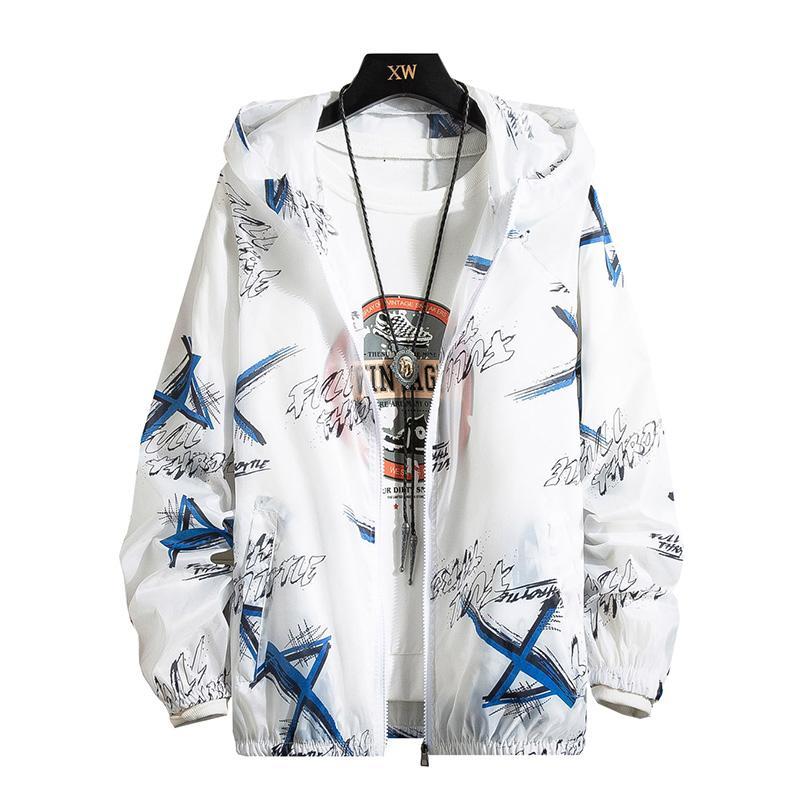 2020 New Sunscreen Clothes Stitching Print Windbreaker Jacket Men Long Sleeve Coat Casual Men's Thin Jacket Outwear Fashion Male