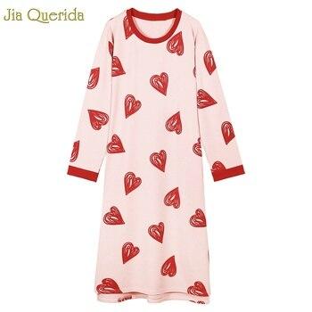 Kawaii snu koszula kobiety Graffiti Sweety serca bawełna różowy bielizna nocna długie rękawy drukowanie bielizna sukienka wieczorowa ładniejsza długa suknia