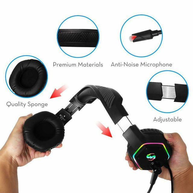 Professional Games Earphones LCD Portable HIFI Headset With Microphone Wired Headphones Audio Adjustable For PC phone 1