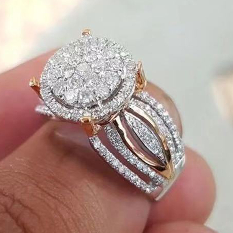 Female Luxury Rhinestone Rings Engagement Ring For Woman Wedding Party Gift