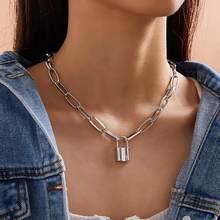 Gargantilha de rocha colar de bloqueio em camadas corrente no pescoço com bloqueio mujer chave cadeado pingente colar para presente feminino punk jóias