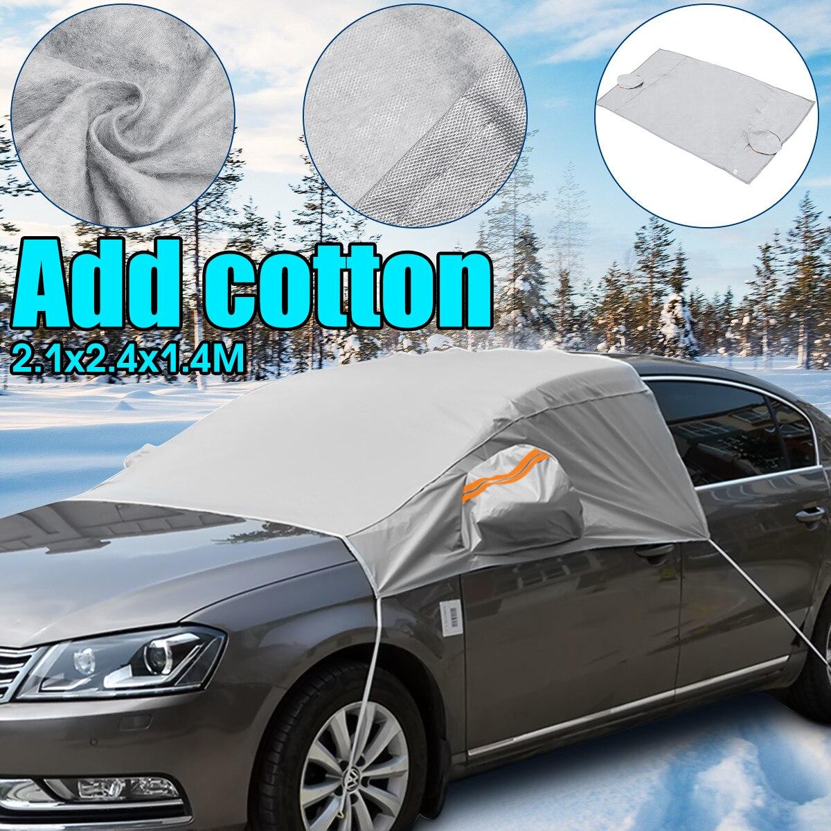 Para-brisas de janela de carro, tampa para janela frontal de carro universal 240cm x 200cm x 147cm para proteção contra o sol, cobertura de neve uv para gelo para para-brisa inverno verão