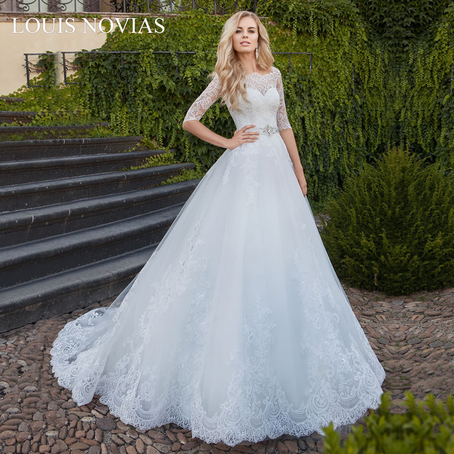 Louis Novias Plus Size Lace Wedding Dress Exquisite Embroidery Slim A Line  Beach Dress For Wedding Party Lace Up Crystal Sashes