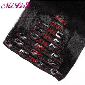 Бразильские Прямые прямые накладные Человеческие волосы Remy, наращивание, естественный цвет, 8 шт./компл. полный комплект головы 120 г, бесплат...