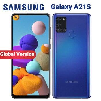 Купить Смартфон Samsung Galaxy A21s A217F/DS, 4 ГБ, 64 ГБ, мобильный телефон, 5000 мАч, Восьмиядерный, 6,5 дюймов, четырехъядерный, 48 МП, две sim-карты, 4G, Android