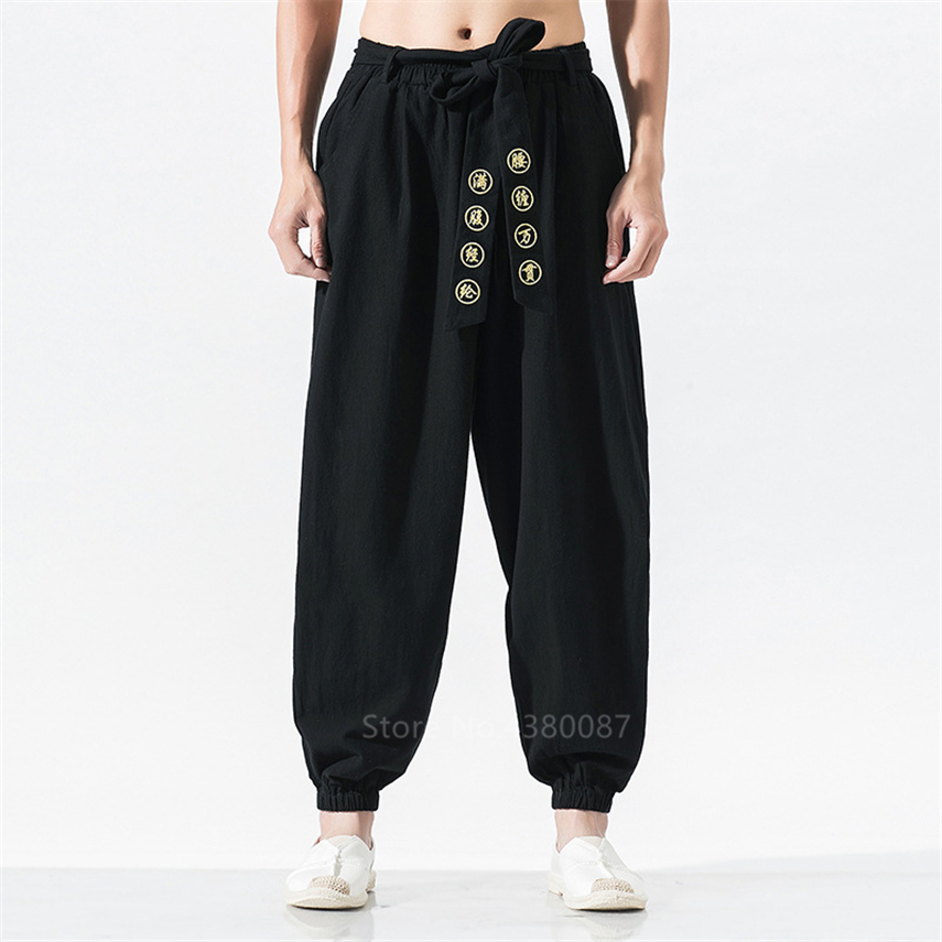 Japanese Style Fashion Man Wide Leg Pants Retro Bandage Embroidery Loose Linen Trouser Male Harlan Haori Hip Hop Samurai Kimono