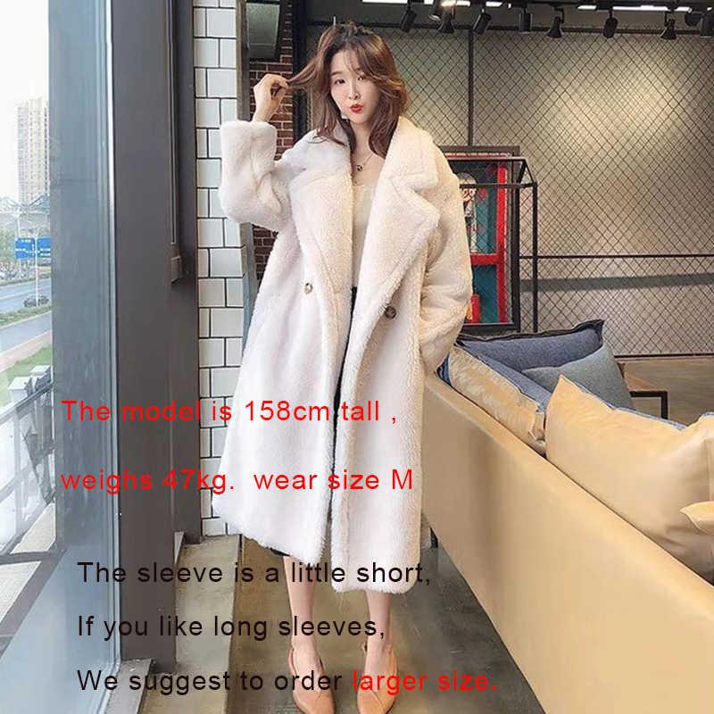 Bella philosophy kobiety zimowe futro ciepły długi płaszcz z długim rękawem kobiet gruby miś płaszcz dorywczo luźny, typu oversize znosić