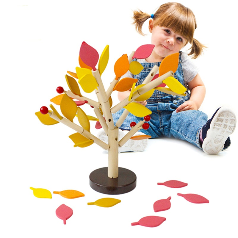 2 Colors DIY Montessori Wooden Assembly Puzzle Toy Green Leaves Building Chopping Assembled Tree  Children Educational Birthday