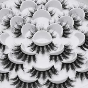 Image 3 - SEXYSHEEP 8/13 זוגות פו 3D מינק ריסים טבעי ארוכים נפח מזויפים איפור הארכת ריסים maquiagem