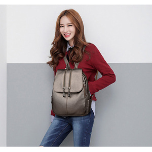 Image 5 - Casual duplo zíper mochila feminina grande capacidade saco de escola para a menina marca couro bolsa de ombro 2018 senhora mochila viagem