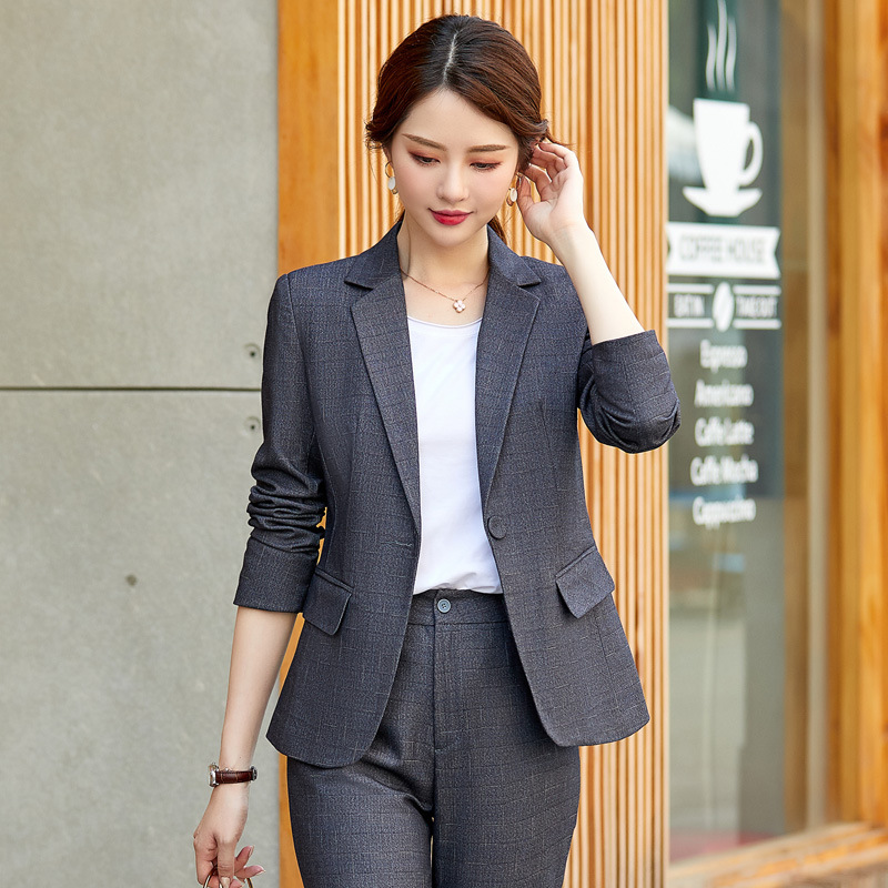 Women's Office Uniform 2019 New Slim Single Buckle Ladies Suit Set Pants Set High Quality High Quality Autumn Women's Clothing