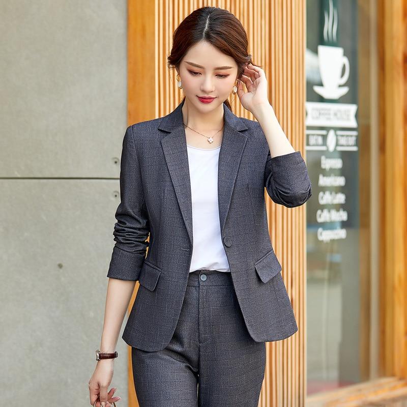 Womens office uniform 2019 new slim single buckle ladies suit set pants high quality High autumn womens clothing