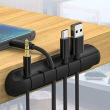 Organizador de Cables de silicona, soporte Flexible para cables USB, Clips de gestión para ratón, teclado, auriculares