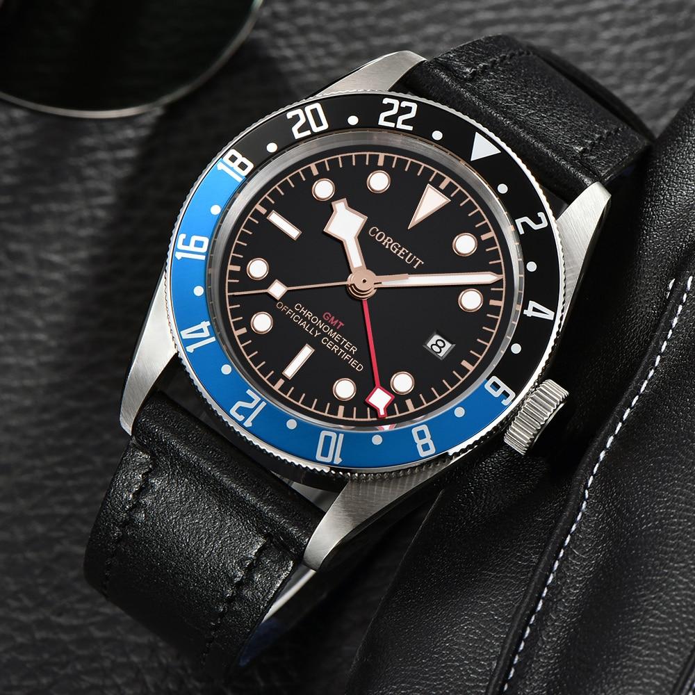 Corgeut di Lusso di Marca Schwarz Bay GMT orologio Da Uomo Meccanico Automatico Della Vigilanza di Sport Militare di Nuotata In Pelle Orologio Meccanico Orologi Da Polso - 6