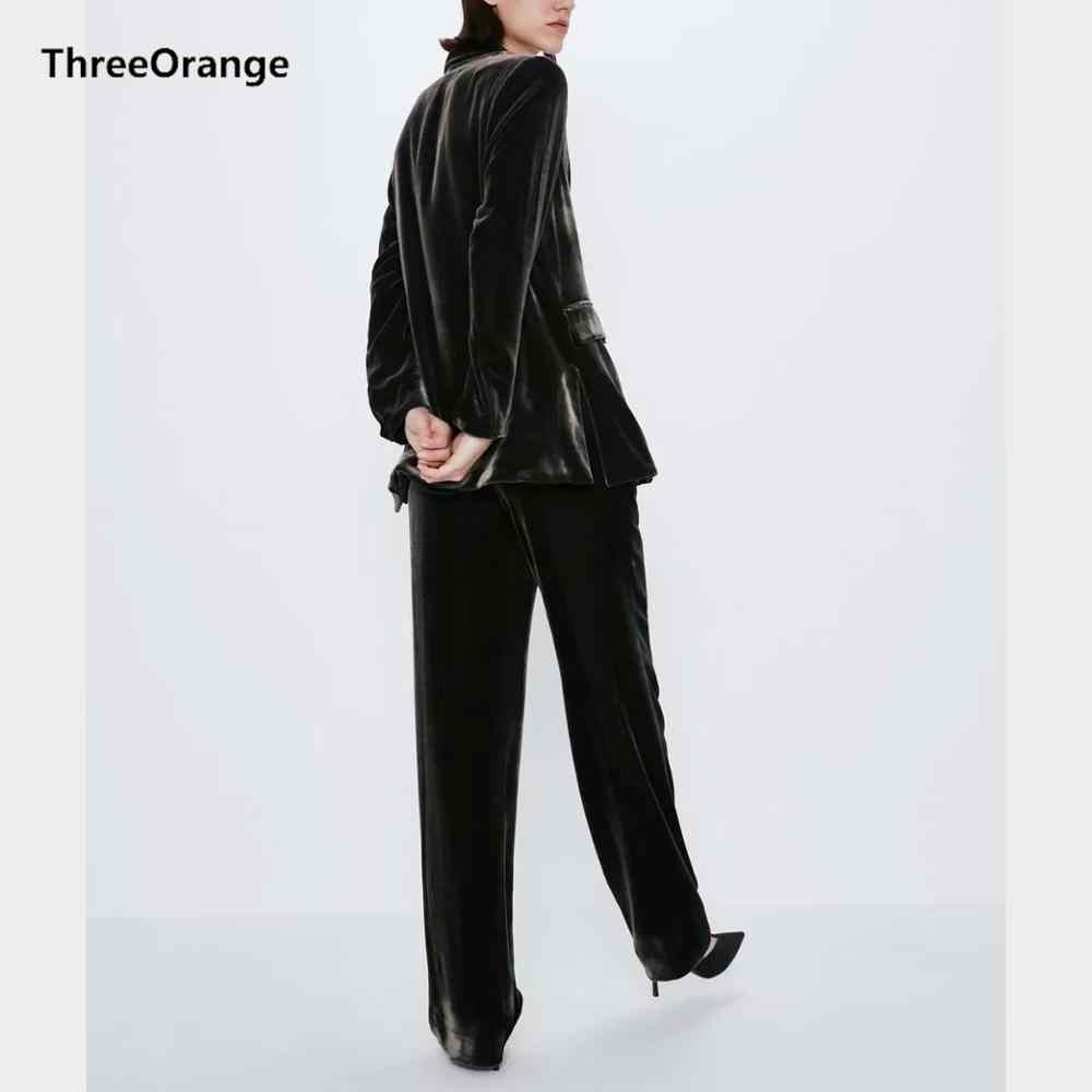 Za 女性カジュアルスーツブレザーセットベルベットポケットフルスリーブトップ & ルースズボンスタイリッシュなオフィスの女性のコート女性スーツ