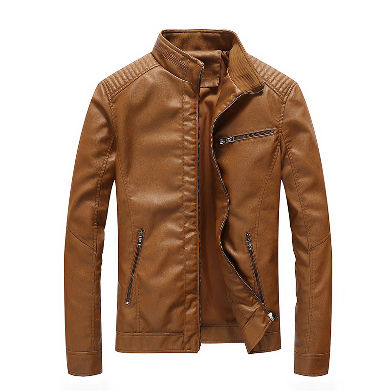 AliExpress Lazada Autumn Stand Collar MEN'S Leather Coat Europe And America Locomotive Large Size Leather Jacket