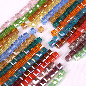 ZHUBI Crystal Cube Beads Spacer DIY Making Jewelry 2/3/4/6/8/10MM Loose Faceted Glass Square Beads For Needlework Accessories