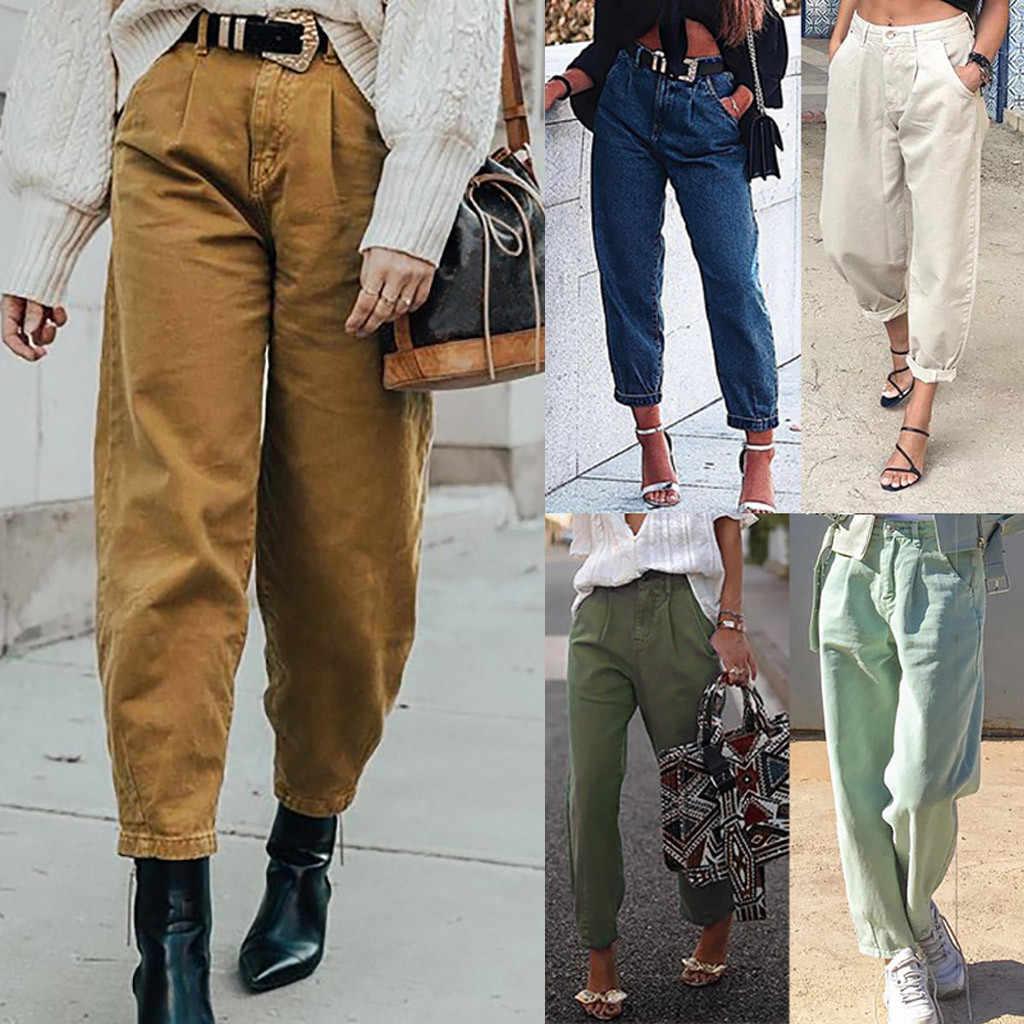 Jeans Mujer Verano 2020 Moda Bohemia Mujer Casual Bolsillo De Alta Cintura Denim Harem Pantalones Jean Femme Jighema De Los Pies Pantalones Vaqueros Aliexpress