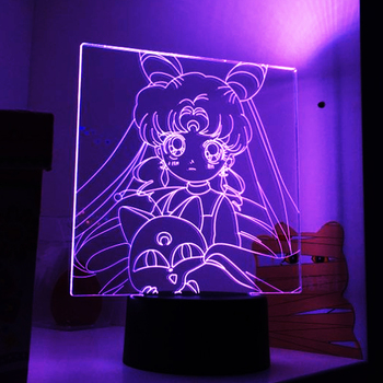 Sailor Moon Anime Led Night Light for Girls Bedroom Decor Touch Sensor Colorful Nightlight Table Lamp Gifts Dropship hot sale wrought iron flamingo star tree wooden base night light creative led dream night table lamp bedroom gifts for girls