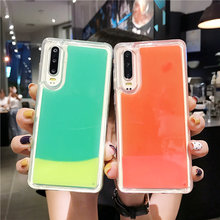 купить Luminous Neon Sand soft Case For Huawei P20 Lite P30 Pro Mate 20 Lite Back cover Glow In The Dark Liquid Quicksand Cases по цене 227.31 рублей