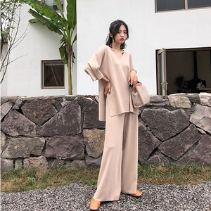 Image 5 - Women Autumn Knitted Tracksuit V neck Knitted Pullover Women Suit Clothing Loose Sweater Wide Leg Pants Suit