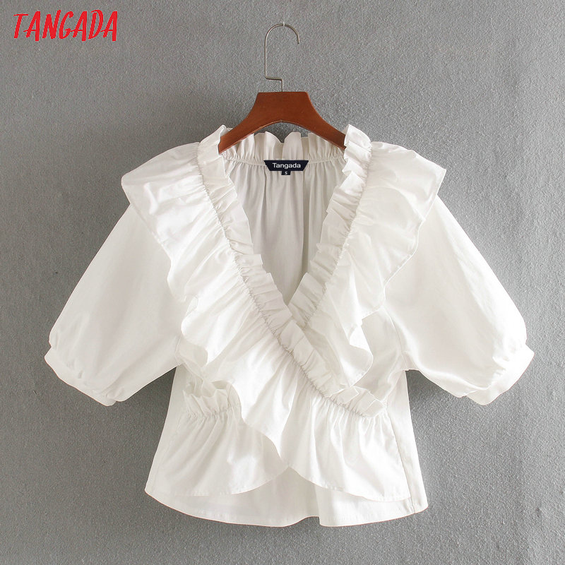 Tangada Women Ruffle White Cotton Shirts Top Short Sleeve French Style 2020 New Arrival Female Blouses CE200