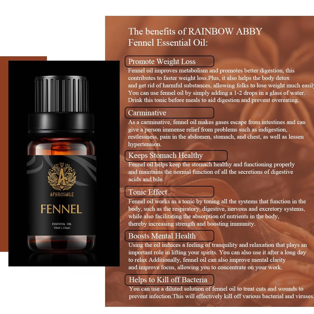 10ml Fennel Sweet Essential Oil For Plant Aromatherapy Organic Relieve Body Stress Air Freshening Help Sleep Essential Oils