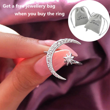 New Design CZ Zircon Star Moon Ring 2019 Fashion Statement Geometric Gold Silver Rose Charm Lady Girl Jewelry D30