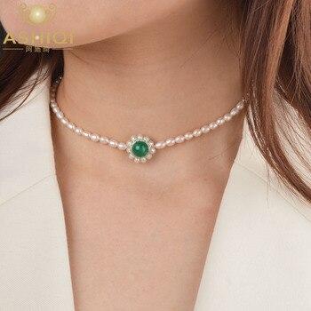 Gargantilla de perlas de agua dulce ASHIQI, collar de ágata Natural, joyería de plata de ley 925 para mujer, regalo de moda