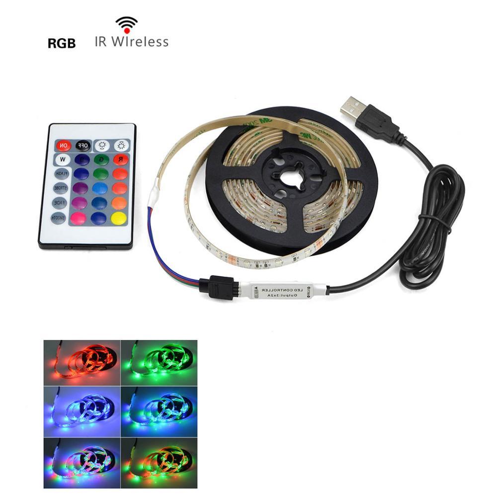 DC 5V USB 2835 LED RGB Strip lamp RGB Book light Bulb TV Background Decor Lighting Ribbon desk decor tape Strings 1M 2M 3M 4M 5M